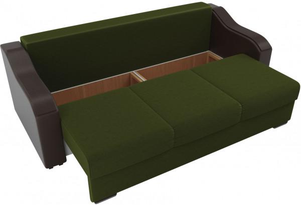 Прямой диван Монако зеленый/коричневый (Микровельвет/Экокожа/флок на рогожке) - фото 5