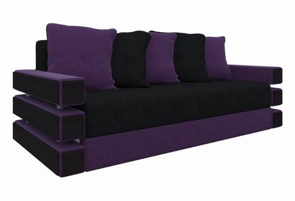 Диван прямой Венеция черный/фиолетовый (Микровельвет) - фото 1