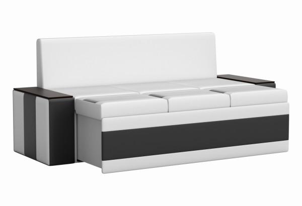Кухонный прямой диван Лина Белый/Черный (Экокожа) - фото 3