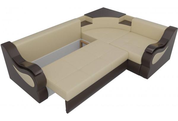 Угловой диван Митчелл бежевый/коричневый (Экокожа) - фото 6