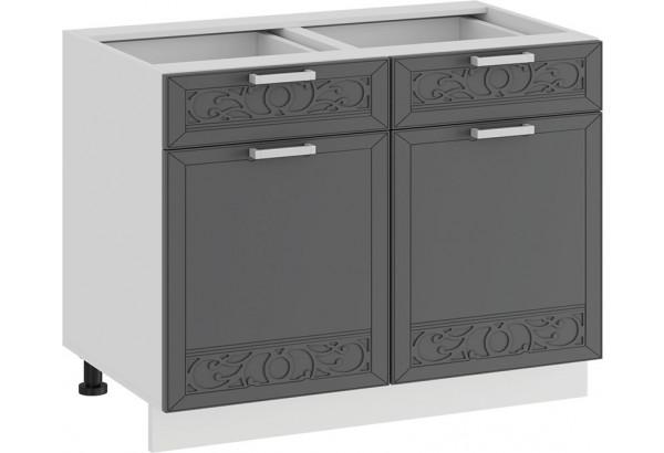 Шкаф напольный с двумя ящиками и двумя дверями «Долорес» (Белый/Титан) - фото 1