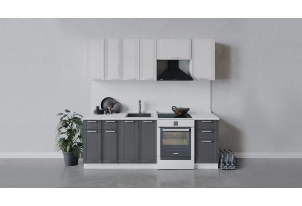 Кухонный гарнитур «Ольга» длиной 220 см (Белый/Белый/Графит) - фото 1