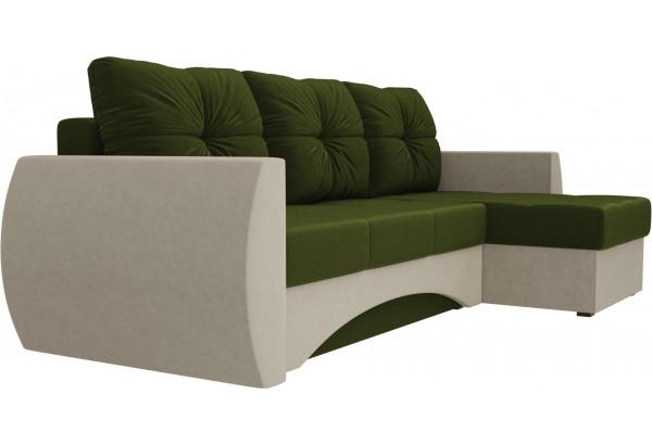 Угловой диван Сатурн Зеленый/Бежевый (Микровельвет) - фото 3
