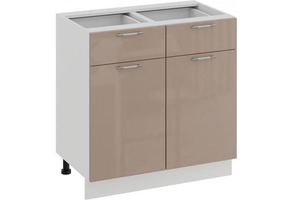 Шкаф напольный с двумя ящиками и двумя дверями «Весна» (Белый/Кофе с молоком) - фото 1