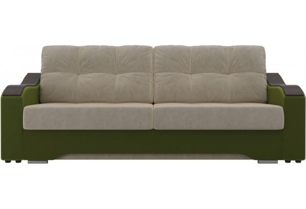 Прямой диван Браун бежевый/зеленый (Микровельвет) - фото 2