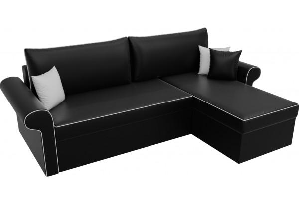 Угловой диван Милфорд Черный (Экокожа) - фото 4