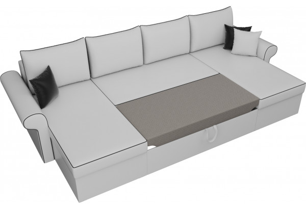 П-образный диван Милфорд Белый (Экокожа) - фото 6