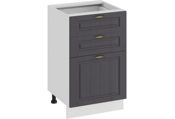 Шкаф напольный с тремя ящиками «Лина» (Белый/Графит) - фото 1
