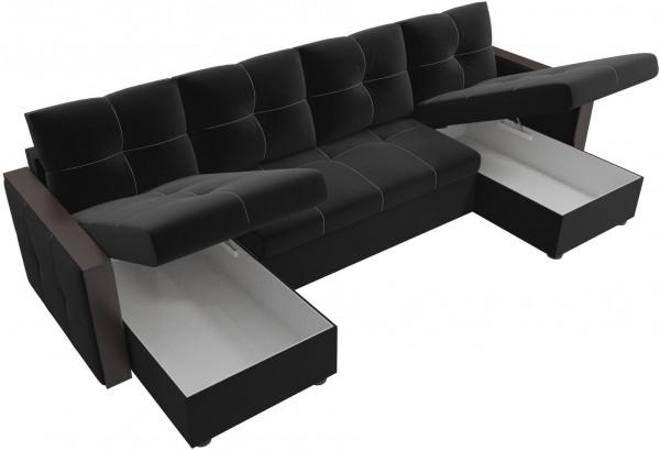 П-образный диван Валенсия Черный (Микровельвет) - фото 5