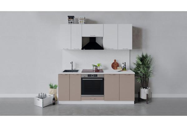 Кухонный гарнитур «Весна» длиной 200 см со шкафом НБ (Белый/Белый глянец/Кофе с молоком) - фото 1