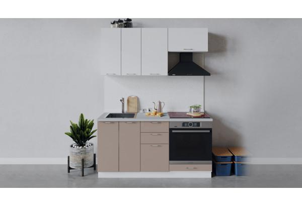 Кухонный гарнитур «Весна» длиной 160 см со шкафом НБ (Белый/Белый глянец/Кофе с молоком) - фото 1