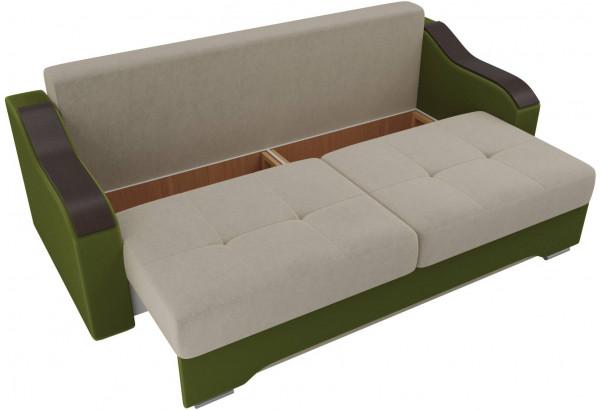 Прямой диван Браун бежевый/зеленый (Микровельвет) - фото 5