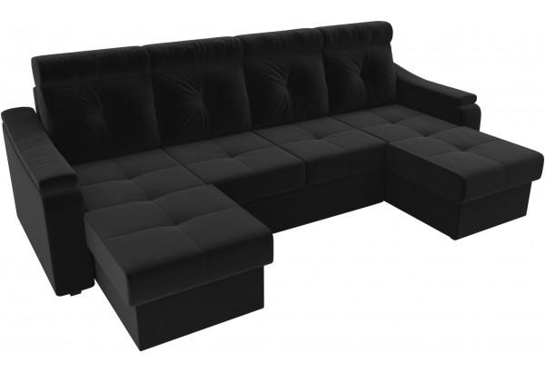 П-образный диван Джастин Черный (Микровельвет) - фото 4
