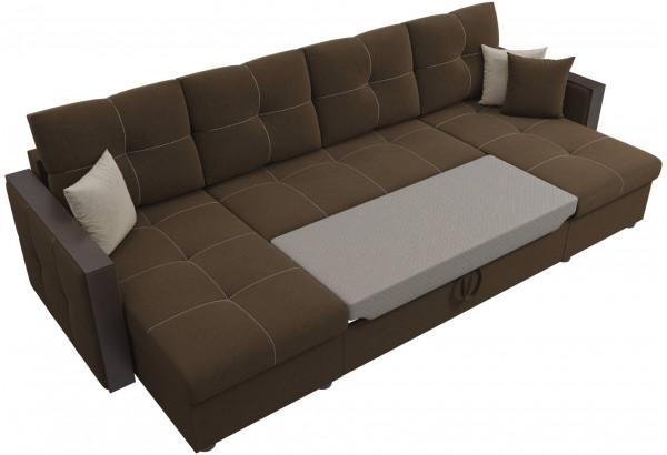 П-образный диван Валенсия Коричневый (Микровельвет) - фото 6