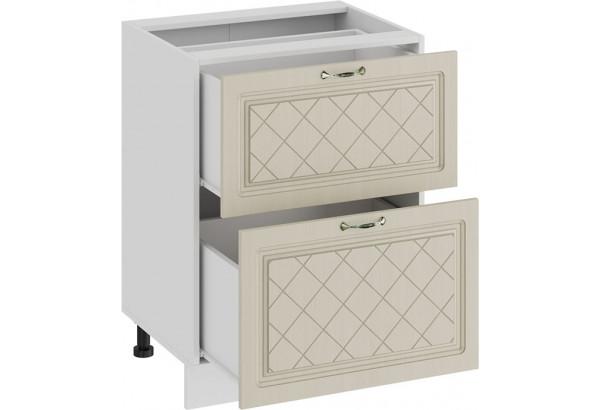 Шкаф напольный с двумя ящиками «Бьянка» (Белый/Дуб ваниль) - фото 2