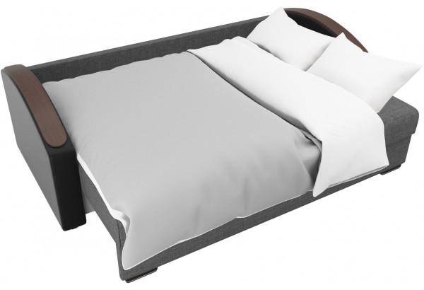 Прямой диван Монако slide Серый/черный (Рогожка/Экокожа) - фото 7