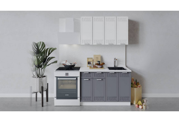 Кухонный гарнитур «Долорес» длиной 120 см (Белый/Сноу/Титан) - фото 1