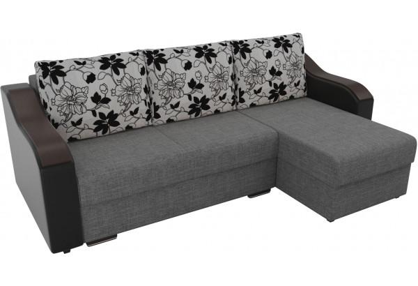 Угловой диван Монако Серый/Черный/Цветы (Рогожка/Экокожа) - фото 4