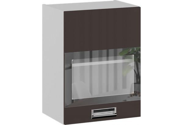 Шкаф навесной со стеклом (правый) (БЬЮТИ (Грэй)) - фото 1