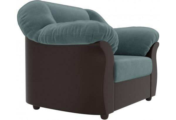 Кресло Карнелла Бирюзовый/Коричневый (Велюр/Экокожа) - фото 3
