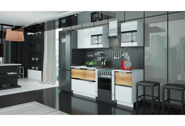 Кухонный гарнитур длиной - 210 см Фэнтези (Белый универс)/(Вуд) - фото 2