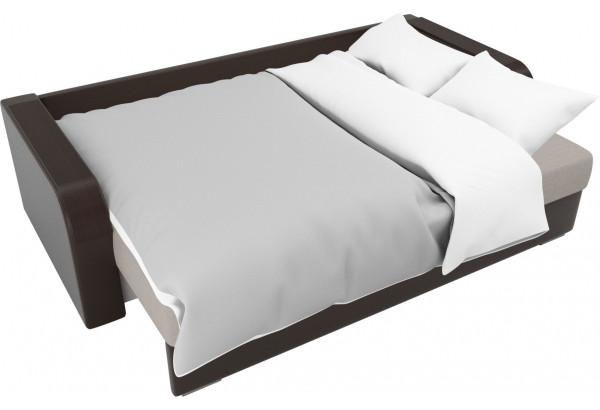 Прямой диван Мейсон бежевый/коричневый (Рогожка/Экокожа) - фото 7