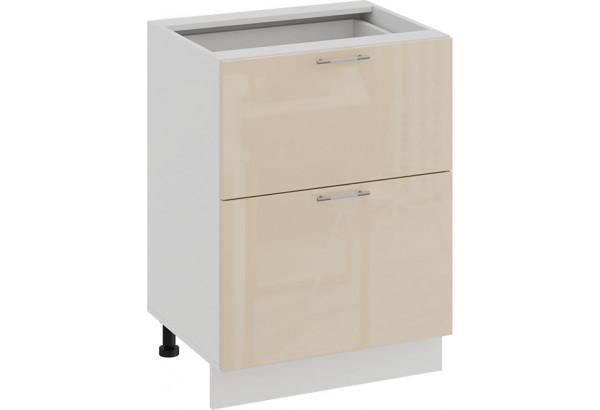 Шкаф напольный с двумя ящиками «Весна» (Белый/Ваниль глянец) - фото 1