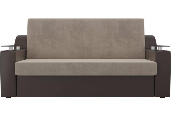 Прямой диван аккордеон Сенатор бежевый/коричневый (Велюр/Экокожа) - фото 2