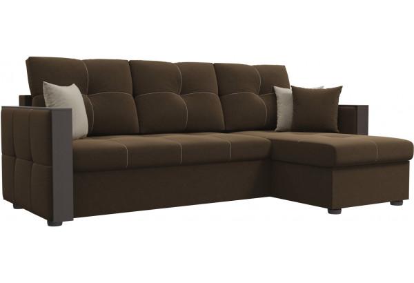 Угловой диван Валенсия Коричневый (Микровельвет) - фото 1
