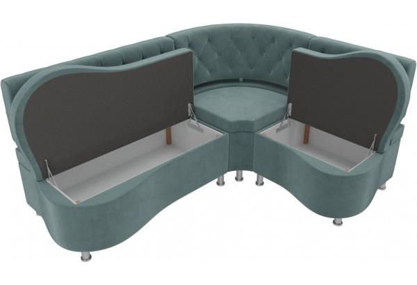 Кухонный угловой диван Вегас бирюзовый (Велюр) - фото 5