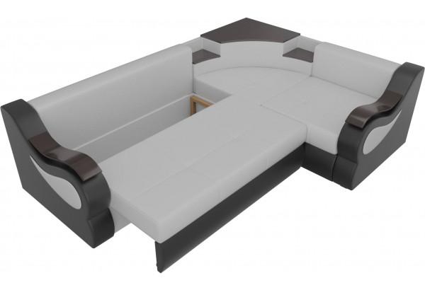 Угловой диван Митчелл Белый/Черный (Экокожа) - фото 6