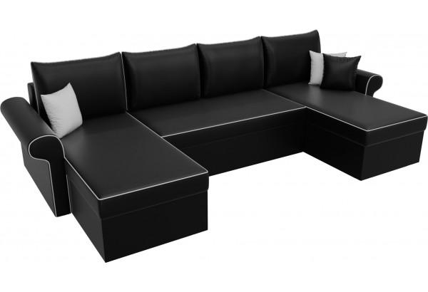 П-образный диван Милфорд Черный (Экокожа) - фото 4
