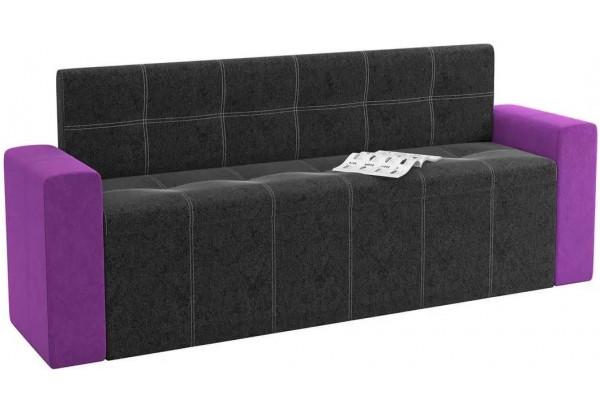 Кухонный прямой диван Династия черный/фиолетовый (Велюр) - фото 1