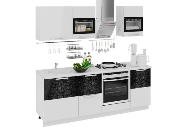 Кухонный гарнитур длиной - 210 см (со шкафом НБ) Фэнтези (Белый универс)/(Лайнс) - фото 1