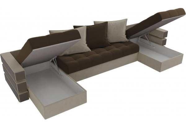 П-образный диван Венеция Коричневый/Бежевый (Микровельвет) - фото 5