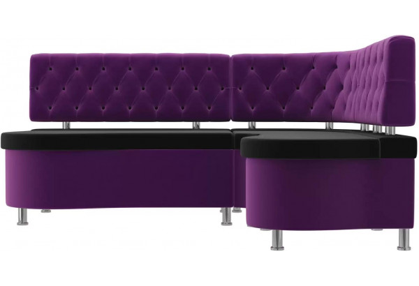 Кухонный угловой диван Вегас черный/фиолетовый (Микровельвет) - фото 2