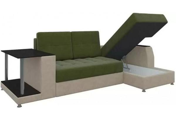 Угловой диван Атланта Зеленый/Бежевый (Микровельвет) - фото 2
