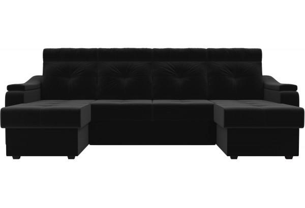 П-образный диван Джастин Черный (Микровельвет) - фото 2