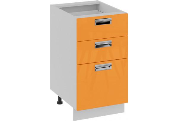 Шкаф напольный с 3-мя ящиками (БЬЮТИ (Оранж)) - фото 1