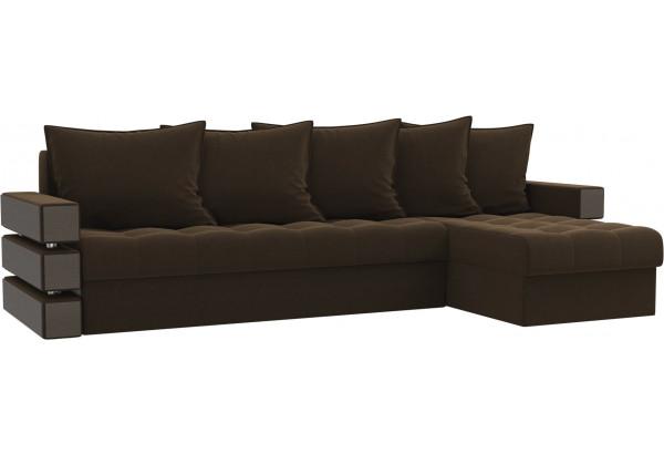 Угловой диван Венеция Коричневый (Микровельвет) - фото 1