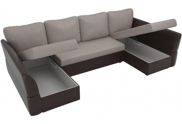 П-образный диван Гесен бежевый/коричневый (Рогожка/Экокожа) - фото 5
