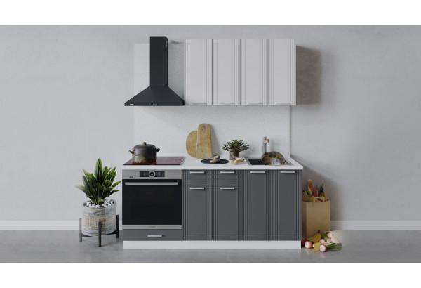 Кухонный гарнитур «Ольга» длиной 180 см со шкафом НБ (Белый/Белый/Графит) - фото 1