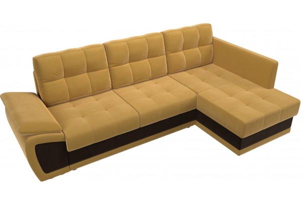Угловой диван Нэстор прайм Желтый/коричневый (Микровельвет) - фото 6