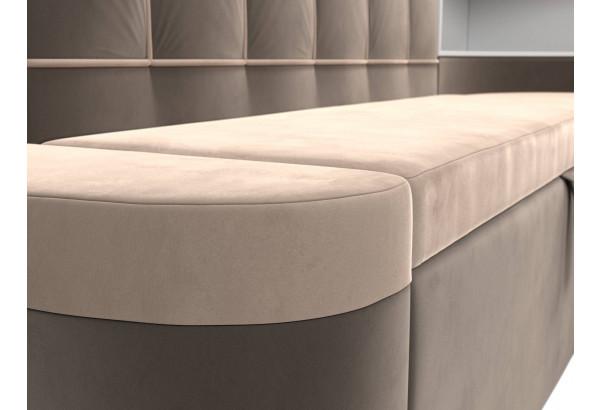 Кухонный угловой диван Тефида бежевый/коричневый (Велюр) - фото 4
