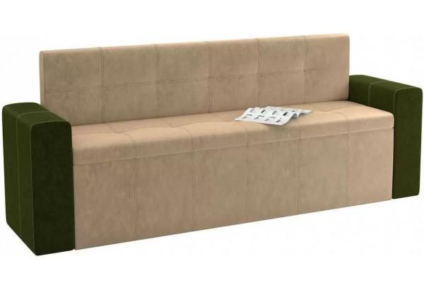 Кухонный прямой диван Династия бежевый/зеленый (Велюр) - фото 1