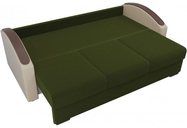 Прямой диван Монако slide Зеленый/Бежевый (Микровельвет/Экокожа/флок на рогожке) - фото 5