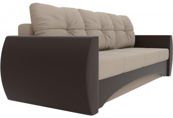Прямой диван Сатурн бежевый/коричневый (Рогожка/Экокожа) - фото 3
