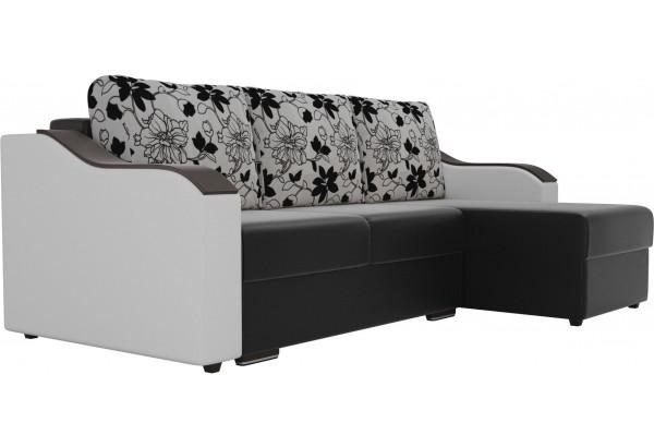 Угловой диван Монако Черный/Белый/Цветы (Экокожа/рогожка) - фото 3