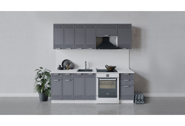 Кухонный гарнитур «Долорес» длиной 220 см (Белый/Титан) - фото 1