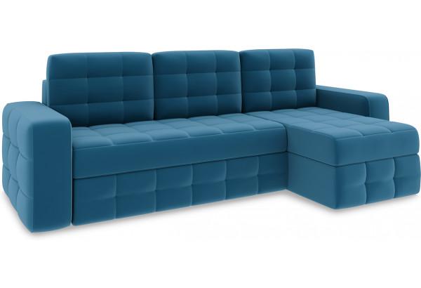 Диван угловой правый «Райс Т1» Beauty 07 (велюр) синий - фото 1